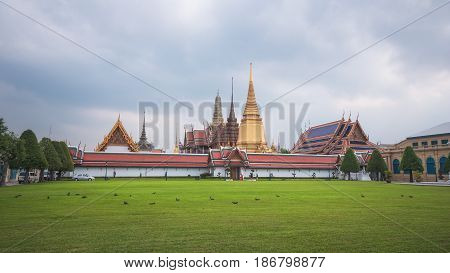 The Wat Phra Kaew or Emerald Buddha Temple in the Grand Palace Temple Complex in Bangkok, Thailand