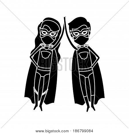 silhouette black front view superhero couple with clashing hands vector illustration