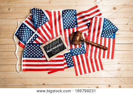 Happy Fourth of July USA Flag. top view