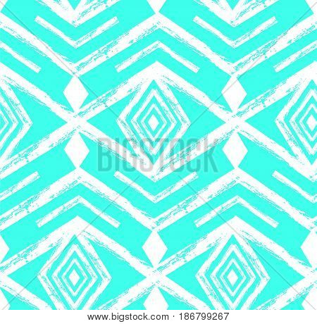 Tiffany blue colored tribal Navajo vector seamless pattern withfreehand texture.Aztec abstract geometric art print. ethnic hipster backdrop. Wallpaper, cloth design, fabric, paper, textile.Hand drawn.