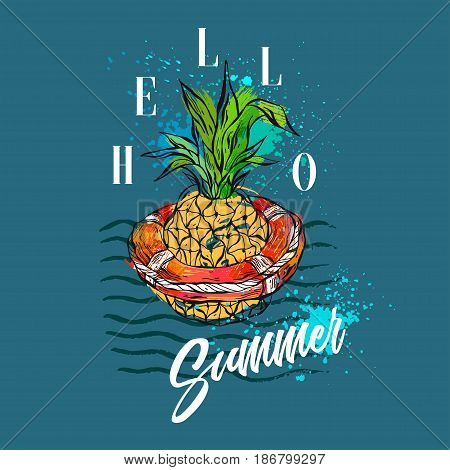 Hand drawn vector abstract tropical illustration with pineapple in red lifebuoy on sea waves, freehand textures and modern calligraphy summer time quote Hello Summer isolated on deep blue background.