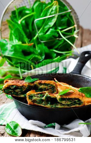 stuffed moldovan flatbreads dill and sorrel.style rustic.selective focus
