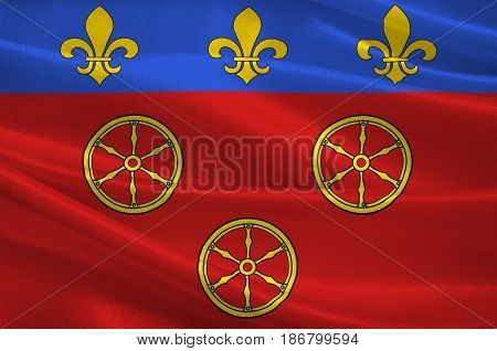 Flag of Rodez is a small city and commune in the South of France. 3d illustration