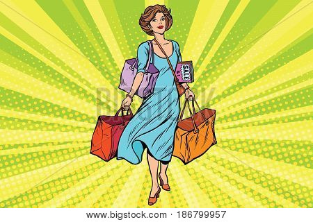 Woman with empty shopping bags. Comic cartoon vintage pop art retro vector illustration