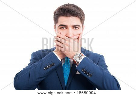 Portrait Of Young Lawyer Holding Hands On Mouth