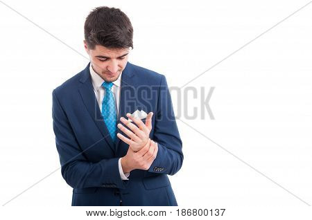 Salesman Having An Injury At His Wrist