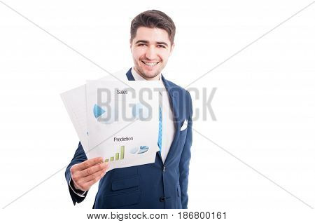 Successful Smiling Salesman Showing Graphs And Charts