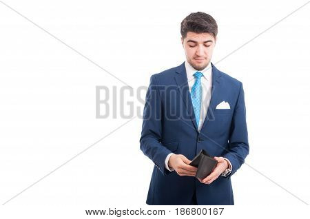 Young Broker Looking Inside His Wallet