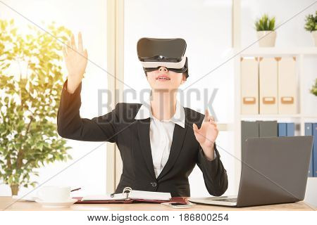 Business Woman Touch Screen By Virtual Reality