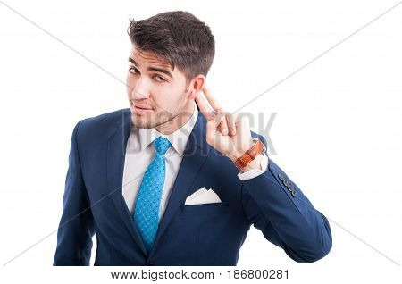 Attractive Salesman Listening  Some Whispers