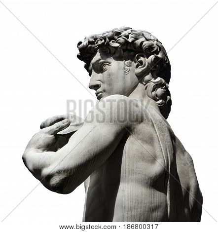 Detail from the replica statue of David in Piazza della Signoria Square Florence. A masterpiece of Renaissance sculpture created by Michelangelo in 1504. (isolated on white background)