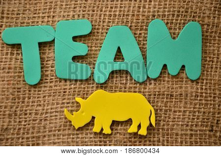word team on a  abstract colorful  background,