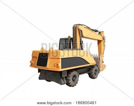 Yellow Wheels Bulldozer 3D Render No Shadow