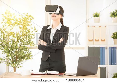Asian Office Lady Standing On The Office