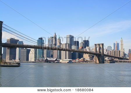 Brooklyn Bridge and Manhattan skyline on a Clear Blue day