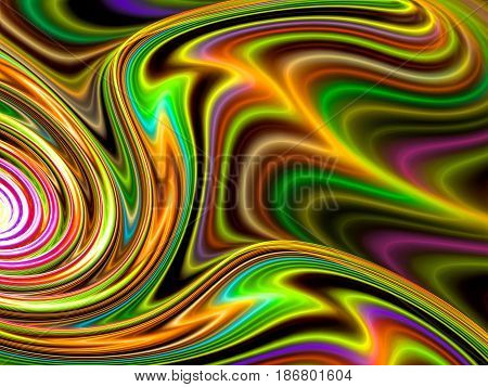 Colorful fractal background - abstract computer-generated image. Digital art: curved, distorted lines, similar to paint divorces. Bright gnarled curves backdrop.