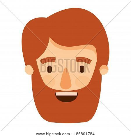 colorful image caricature front view bearded man with moustache and hairstyle vector illustration