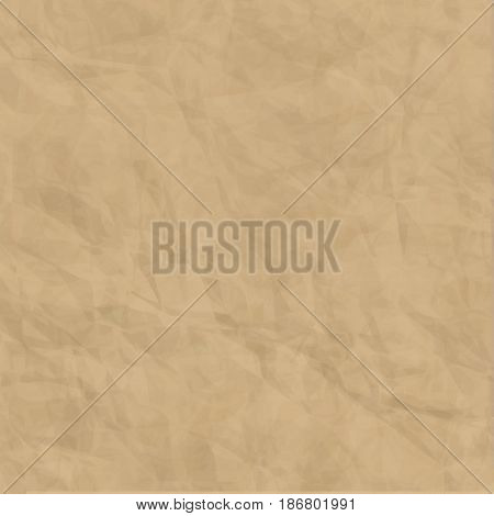 Texture of brown craft crumpled paper background Vector illustration for print ad magazine brochure leaflet