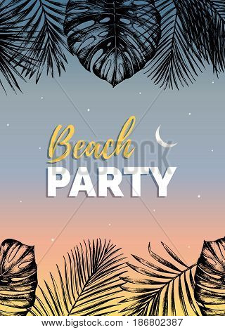 Vector vintage beach party illustration. Exotic palm leaves background. Hand sketched jungle foliage poster. Tropic plants frame.