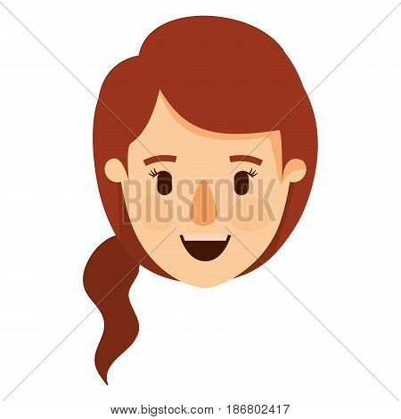 colorful image caricature front view face woman with redhead ponytail side hair vector illustration