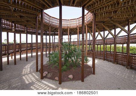 Inside Wooden Tower In Valdebebas Park Madrid City
