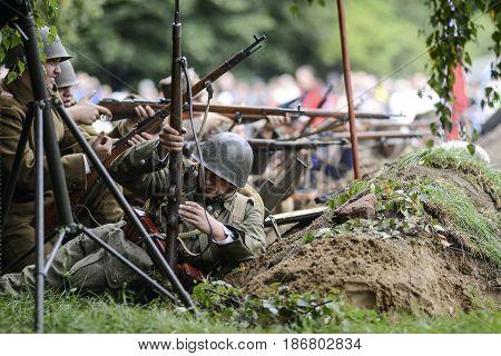Szczecin Poland September 1 2013: Historical reconstruction beginning world war II in Poland.