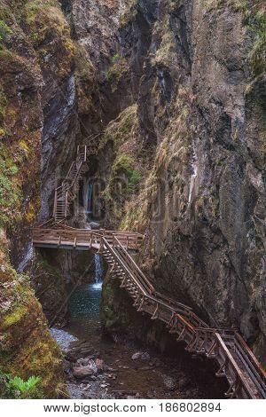 Wooden Steps in Sigmund Thun Klamm (Gorge) in Alps Mountain Range near City of Kaprun, Austria