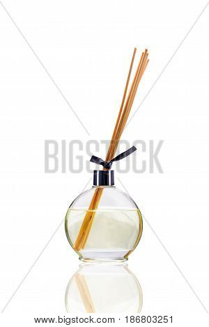 Essential oil isolated on white background with clipping path. Cute symbol for aromatherapy store. Elements - oil stick aroma. Aromatherapy diffuser simple silhouette for spa salon.