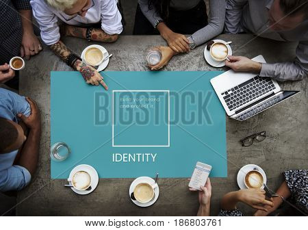 Group of people design the identity branding business trademark