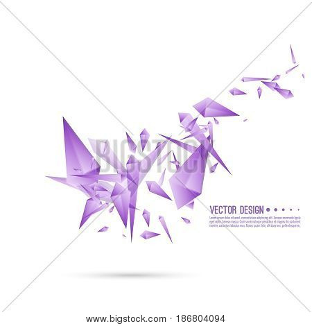 Abstract background with dynamic flying fragments. Glass geometric polygon shapes purple color in motion. Modern fashion design. Vector.