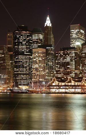 Manhattan skyline at Night Lights, NYC