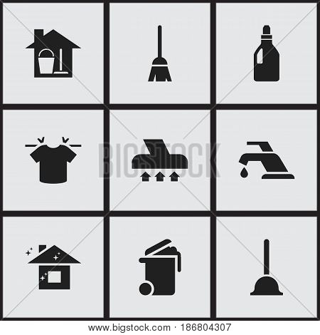 Set Of 9 Editable Hygiene Icons. Includes Symbols Such As Rubber Drain, Container, Broomstick And More. Can Be Used For Web, Mobile, UI And Infographic Design.