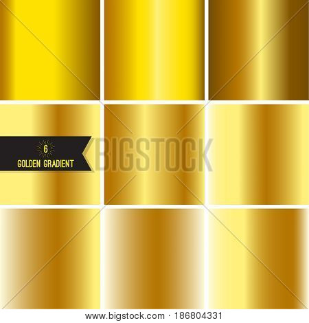 Set of gold foil texture background. Collection yellow vector elegant gradient. Luxury golden fashion design.