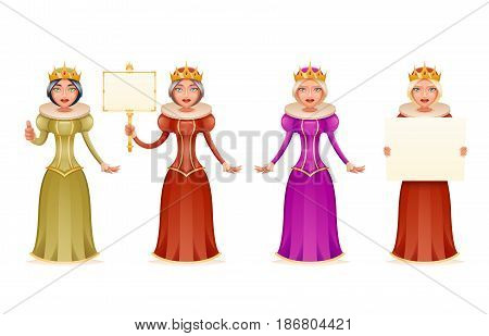 Queen cute cheerful ruler blank paper thumb up crown head cartoon character 3d realistic isolated vector illustration