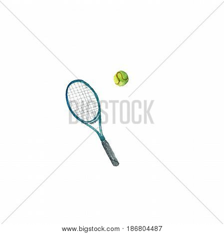 watercolor tennis racquet and ball, isolated design elements at white background, hand drawn illustration