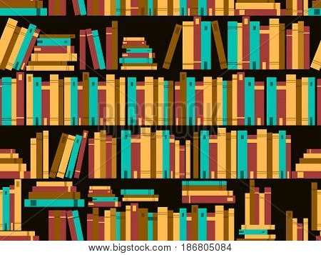 Seamless pattern with books library bookshelf. Vector illustration