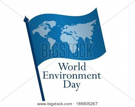 World Environment Day 5Th June. Flag With World Map On White Background. Vector Illustration