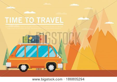 Travel Lifestyle Concept Of Planning Summer Vacation Tourism And Journey. Mountains. Travel By Car.