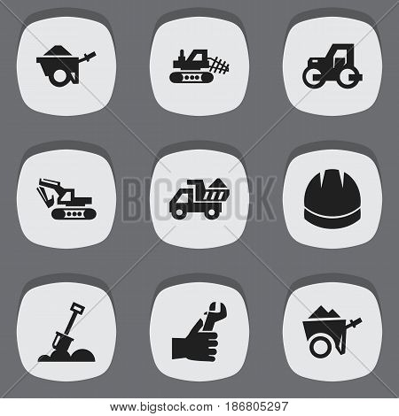 Set Of 9 Editable Construction Icons. Includes Symbols Such As Hardhat, Excavation Machine, Mule And More. Can Be Used For Web, Mobile, UI And Infographic Design.