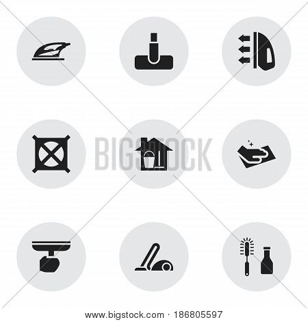 Set Of 9 Editable Dry-Cleaning Icons. Includes Symbols Such As No Laundry, Cleanser, Vacuum Cleaner And More. Can Be Used For Web, Mobile, UI And Infographic Design.