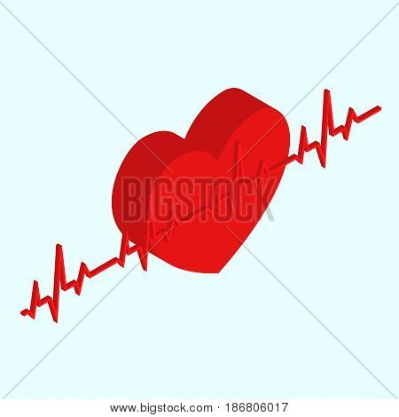 Heart Medical Isometric View Cardiology Health Care Concept Red Shape and Heartbeat. Vector illustration