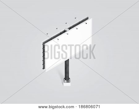 Blank white banner mock up on city billboard isometric view 3d rendering. Empty bill board mockup isolated. Clear canvas template on street sign. Large outdoor poster screen. Cityboard signage stand