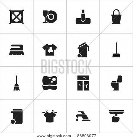 Set Of 16 Editable Cleaning Icons. Includes Symbols Such As Broomstick, Whisk, No Laundry And More. Can Be Used For Web, Mobile, UI And Infographic Design.