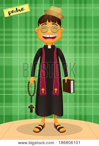 Catholic Priest - Festa Junina, brazilian june party - Happy character for june fest themes