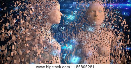 Profile view of brown pixelated 3d woman against virus background