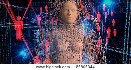 Close-up of composite brown pixelated 3d woman against binary codes and people icons