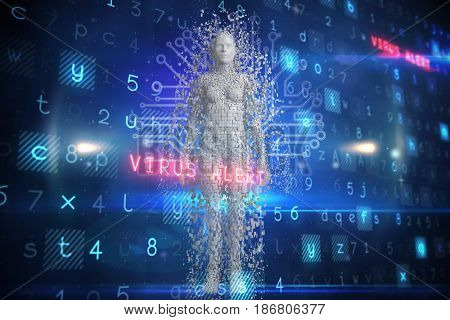 Digitally generated gray pixelated 3d female against technology background