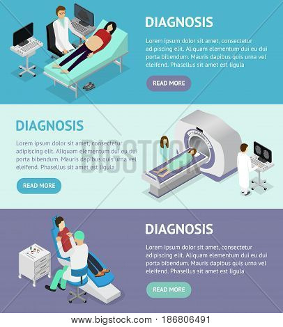 Patient and Doctor Appointment Isometric View. Diagnosis Ultrasound and MRT Specialist in Cabinet Interior of Clinic Vector illustration