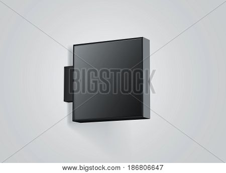 Blank store outdoor black signage mockup isolated 3d rendering. Empty square light box mockup. Dark shop lightbox template. Street sign hanging mounted on the wall. Signboard for logo presentation.