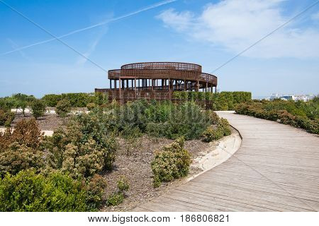Wooden Path To The Lookout Tower In Valdebebas Park